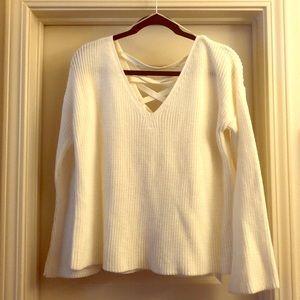 Criss-cross back bell sleeve cream sweater